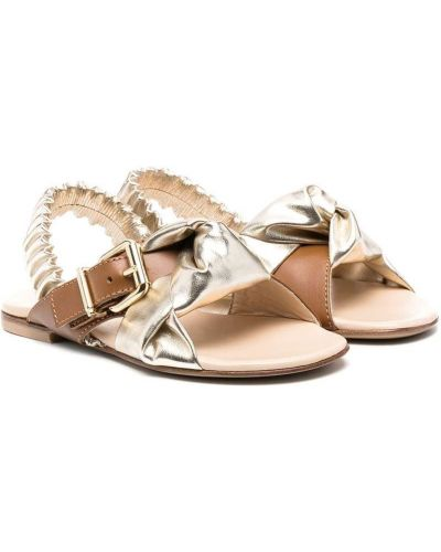 Brązowe złote sandały płaska podeszwa Ermanno Scervino Junior