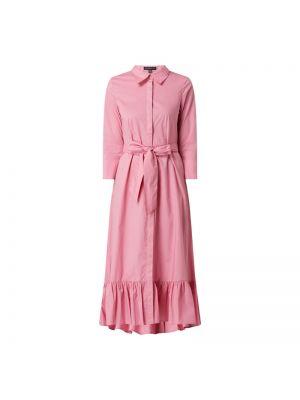 Różowa sukienka koszulowa rozkloszowana z falbanami Apart Glamour