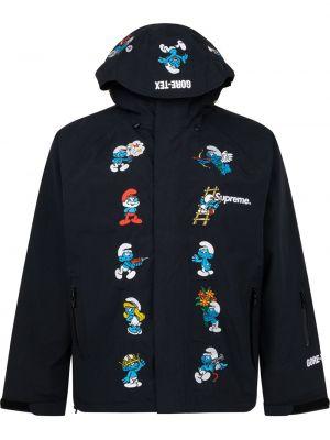 Czarna długa kurtka z printem z długimi rękawami Supreme