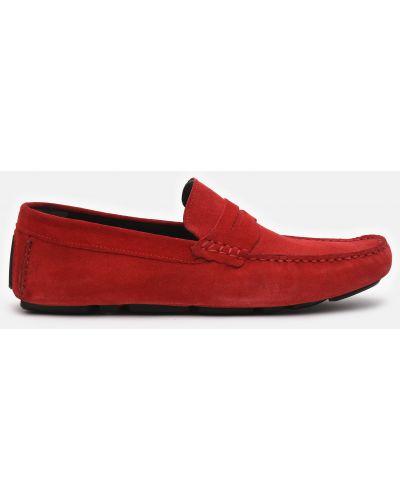 Кожаные мокасины - красные Plezuro
