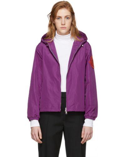 Фиолетовая длинная куртка с капюшоном с манжетами Moncler