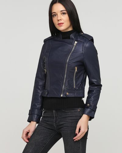 Синяя кожаная куртка на молнии Kookai