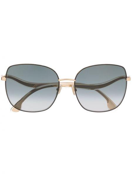 Золотистые черные солнцезащитные очки металлические оверсайз Jimmy Choo Eyewear