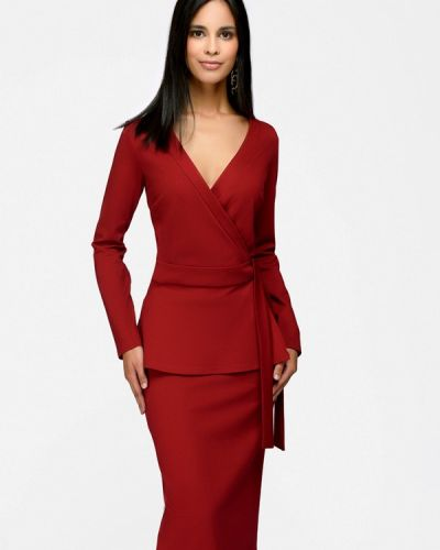 Юбочный костюм бордовый красный 1001dress
