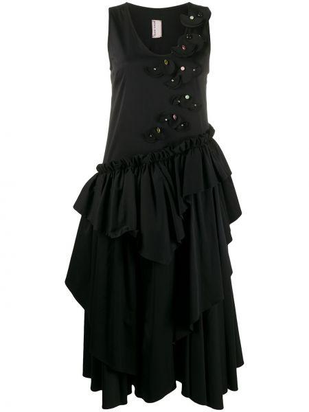 Czarna sukienka midi bez rękawów bawełniana Antonio Marras