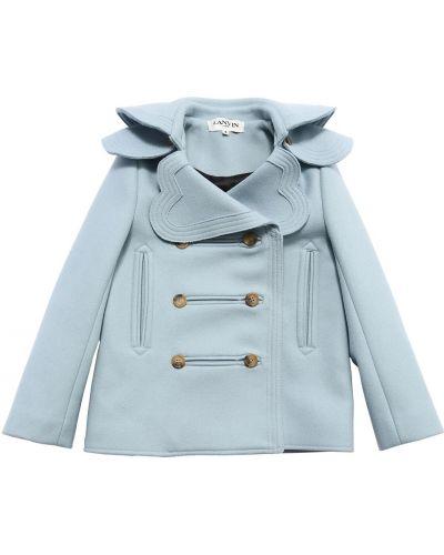 Синее шерстяное пальто двубортное Lanvin