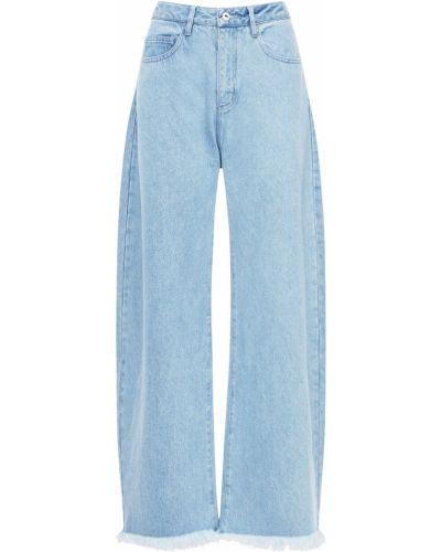 Синие джинсовые джинсы с манжетами на высоких Marques'almeida