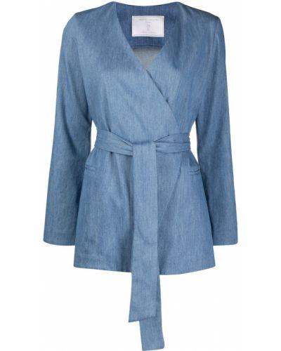 Синий удлиненный пиджак с подкладкой с длинными рукавами SociÉtÉ Anonyme