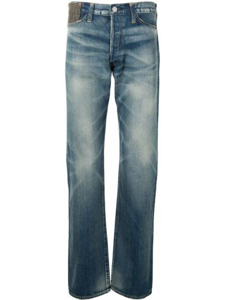 Прямые зауженные джинсы-скинни с заплатками с карманами Junya Watanabe Man