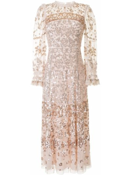 Розовое платье из фатина с пайетками на молнии Needle & Thread