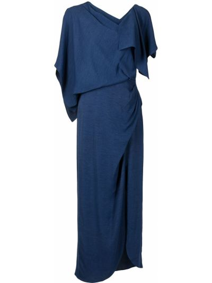 Синее платье миди с воротником из вискозы Manning Cartell