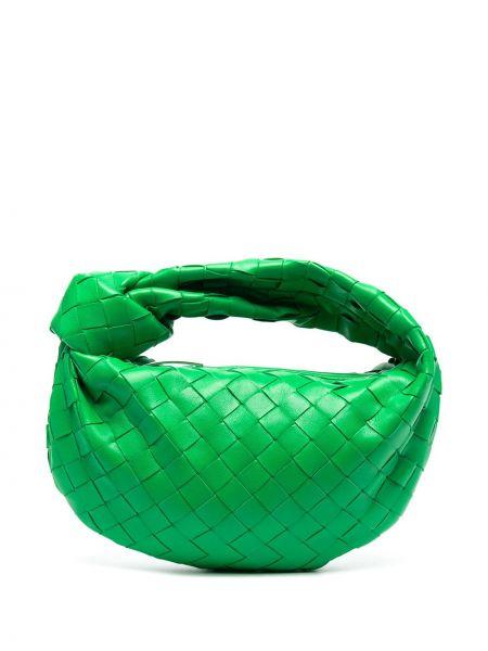 Зеленая кожаная сумка-тоут на молнии Bottega Veneta