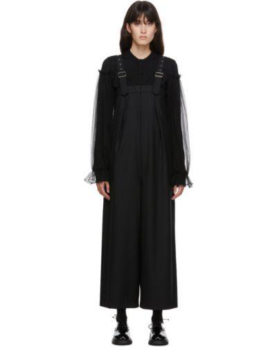 Czarny spodni kombinezon bezpłatne cięcie z klamrą z kieszeniami Noir Kei Ninomiya