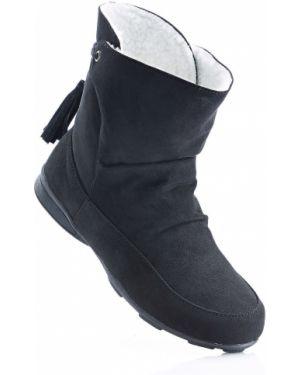 Текстильные теплые черные ботинки Bonprix
