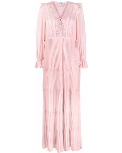 Расклешенное ажурное розовое платье миди Self-portrait