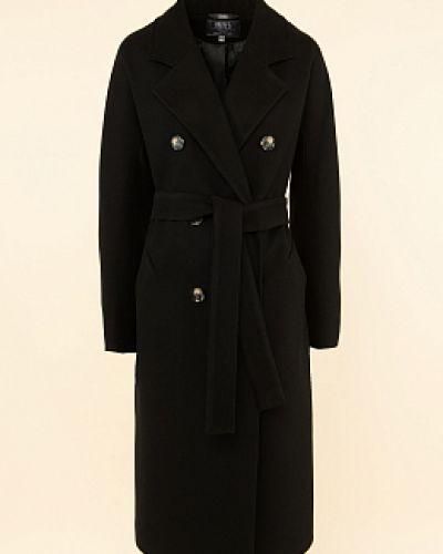 Черное прямое пальто каляев