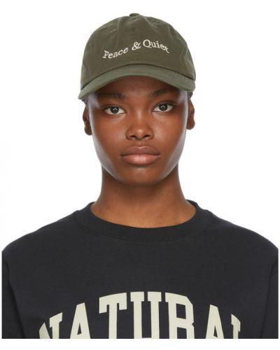Zielona czapka z haftem bawełniana Museum Of Peace And Quiet