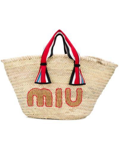 Пляжная сумка соломенная маленькая Miu Miu