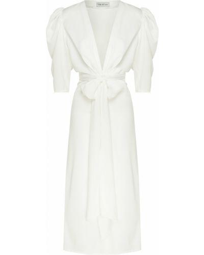 С рукавами белое платье миди с поясом ли-лу