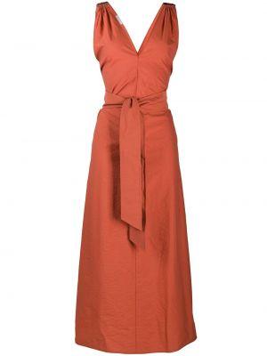 Оранжевое платье макси с вырезом без рукавов Brunello Cucinelli