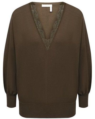 Шерстяной пуловер - зеленый Chloé