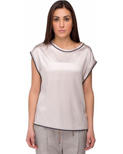 Блузка шелковая серебряный Brunello Cucinelli