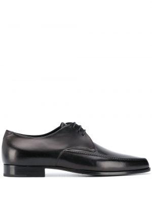 Ażurowy czarny buty brogsy z prawdziwej skóry na sznurowadłach Saint Laurent