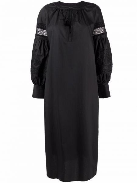 Черное платье миди с вышивкой на пуговицах Roberto Collina