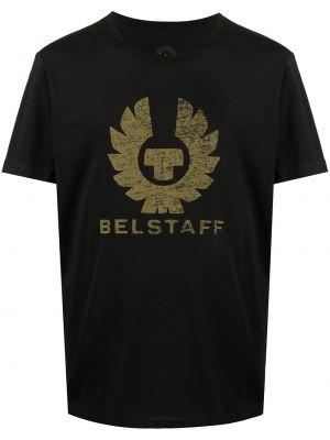 Bawełna prosto czarny koszula krótkie z krótkim rękawem krótkie rękawy Belstaff