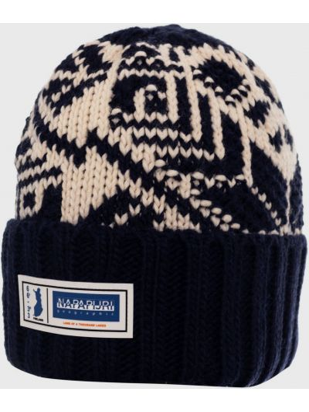Шерстяная шапка бини - синяя Napapijri