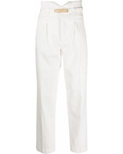 Золотистые хлопковые белые укороченные джинсы Pinko