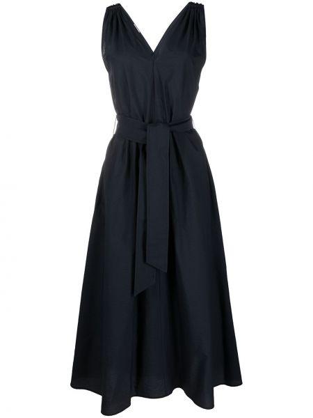 Прямое синее платье макси без рукавов Brunello Cucinelli