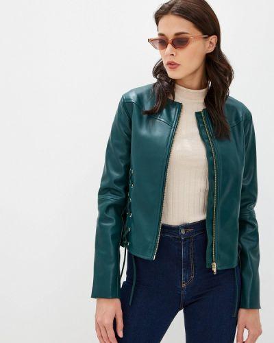 Кожаная куртка осенняя зеленая Sisley