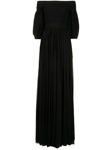 С рукавами черное плиссированное платье макси из вискозы Alexander Mcqueen