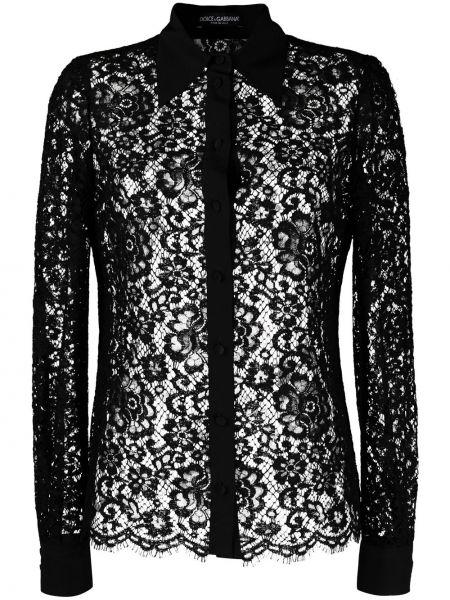 Шелковая черная кружевная блузка Dolce & Gabbana