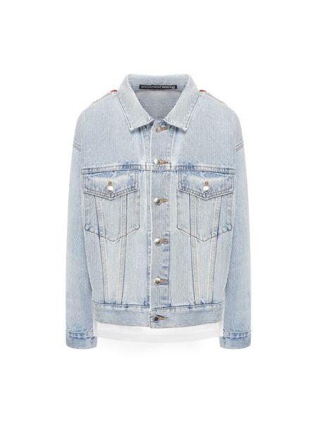 Хлопковая синяя джинсовая куртка с декоративной отделкой сетчатая Denim X Alexander Wang