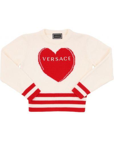 Biały sweter wełniany z haftem Versace