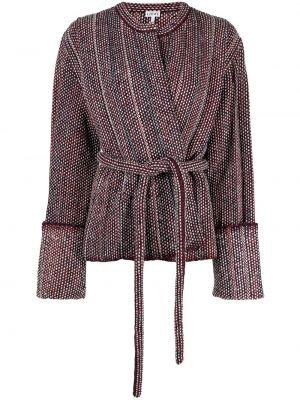 Шерстяной красный удлиненный пиджак с поясом Loewe