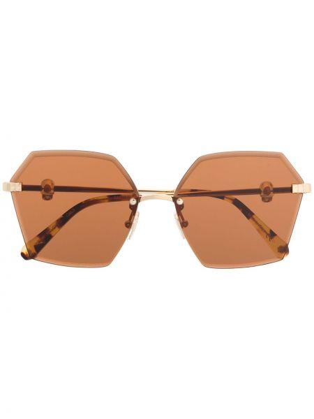 Brązowe złote okulary oversize Philipp Plein