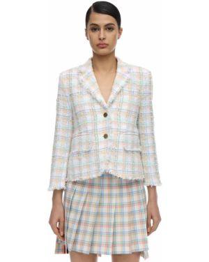 Пиджак твидовый на пуговицах с лацканами с подкладкой Thom Browne