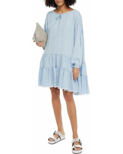 Niebieska sukienka mini zapinane na guziki Marques Almeida