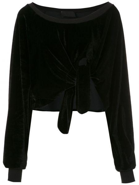 Блузка в рубчик черная Andrea Bogosian