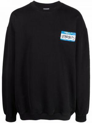 Черная хлопковая свитер с вырезом Vetements