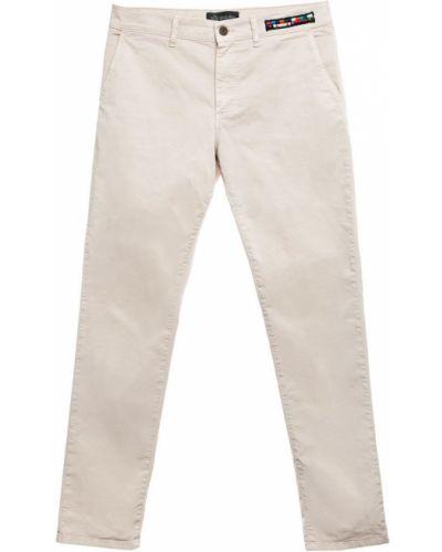Niebieskie spodnie z haftem zapinane na guziki Mr&mrs Italy