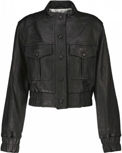 Черная кожаная кожаная куртка Veronica Beard