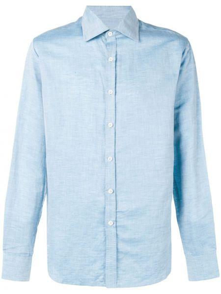 Синяя классическая классическая рубашка с воротником на пуговицах Holland & Holland