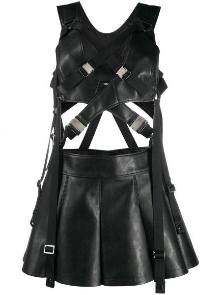 Czarna sukienka mini rozkloszowana skórzana Junya Watanabe