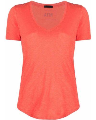 Pomarańczowy t-shirt bawełniany z dekoltem w serek Atm Anthony Thomas Melillo