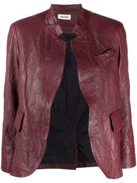 Кожаный удлиненный пиджак с карманами с воротником-стойка Zadig&voltaire