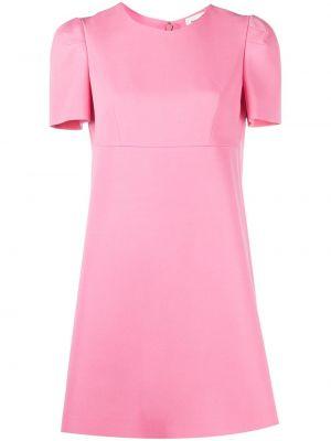 Розовое шелковое платье мини с вырезом Alexander Mcqueen